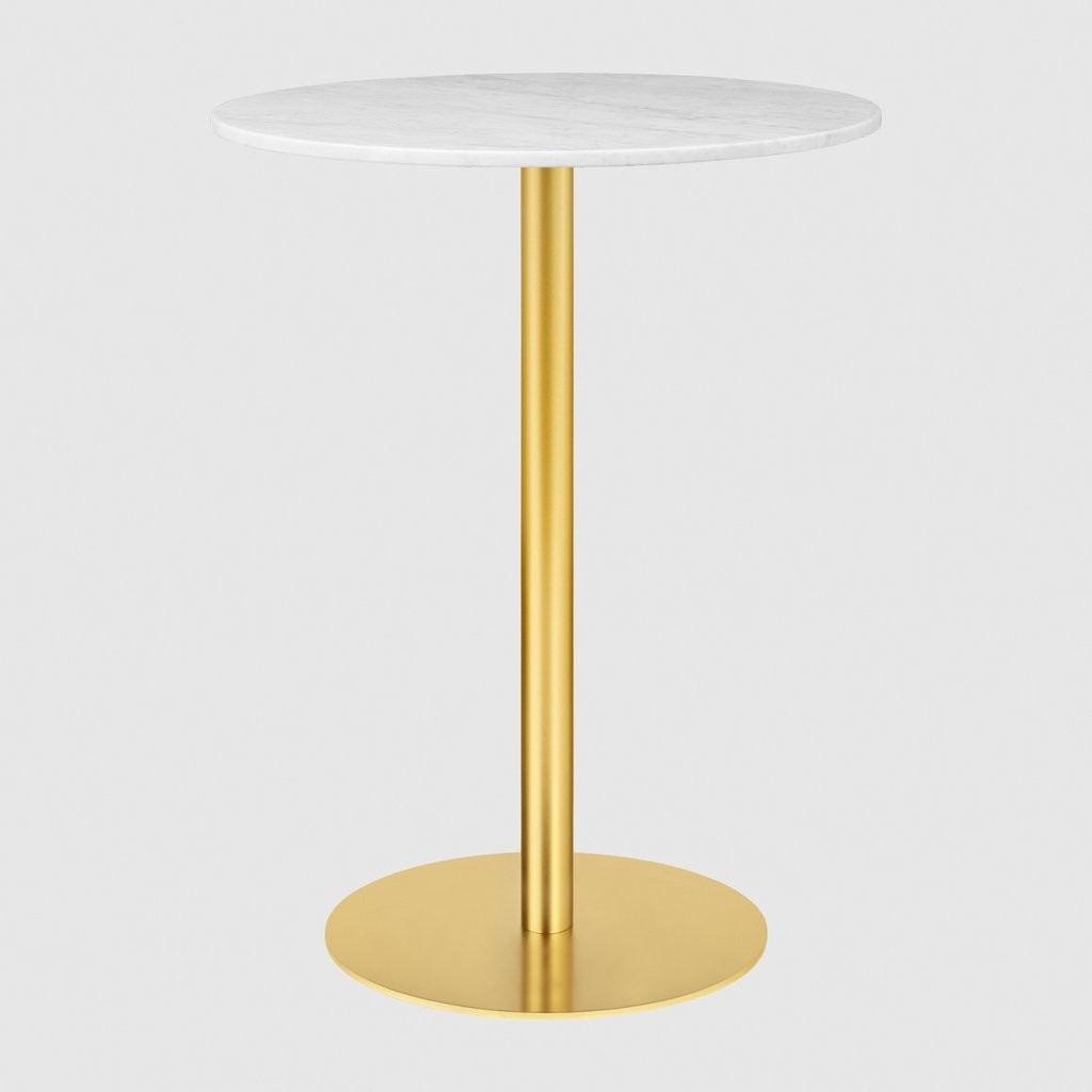 Gubi 1.0 Round Bar Table 080, Gubi Metal Brass, Gubi Marble Bianco Carrara