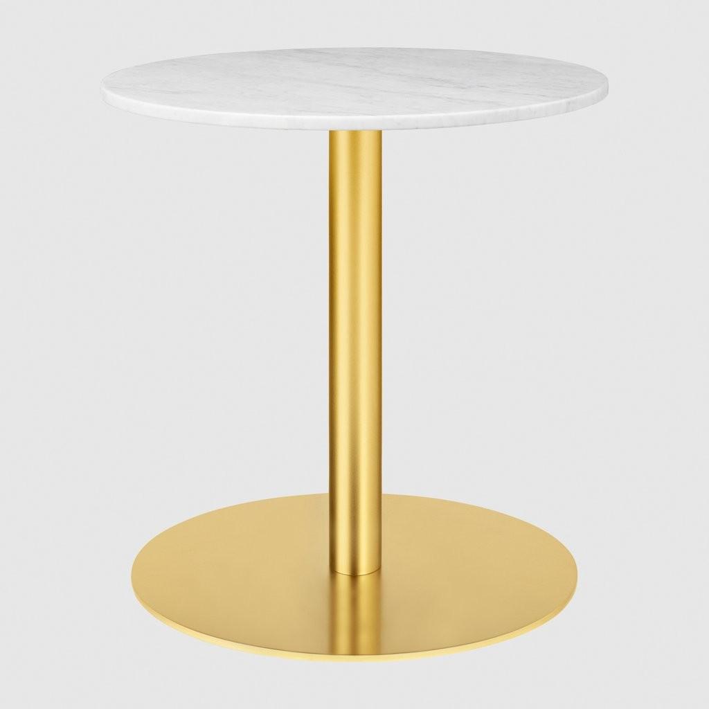 Gubi 1.0 Round Lounge Table 060, Gubi Metal Brass, Gubi Marble Bianco Carrara