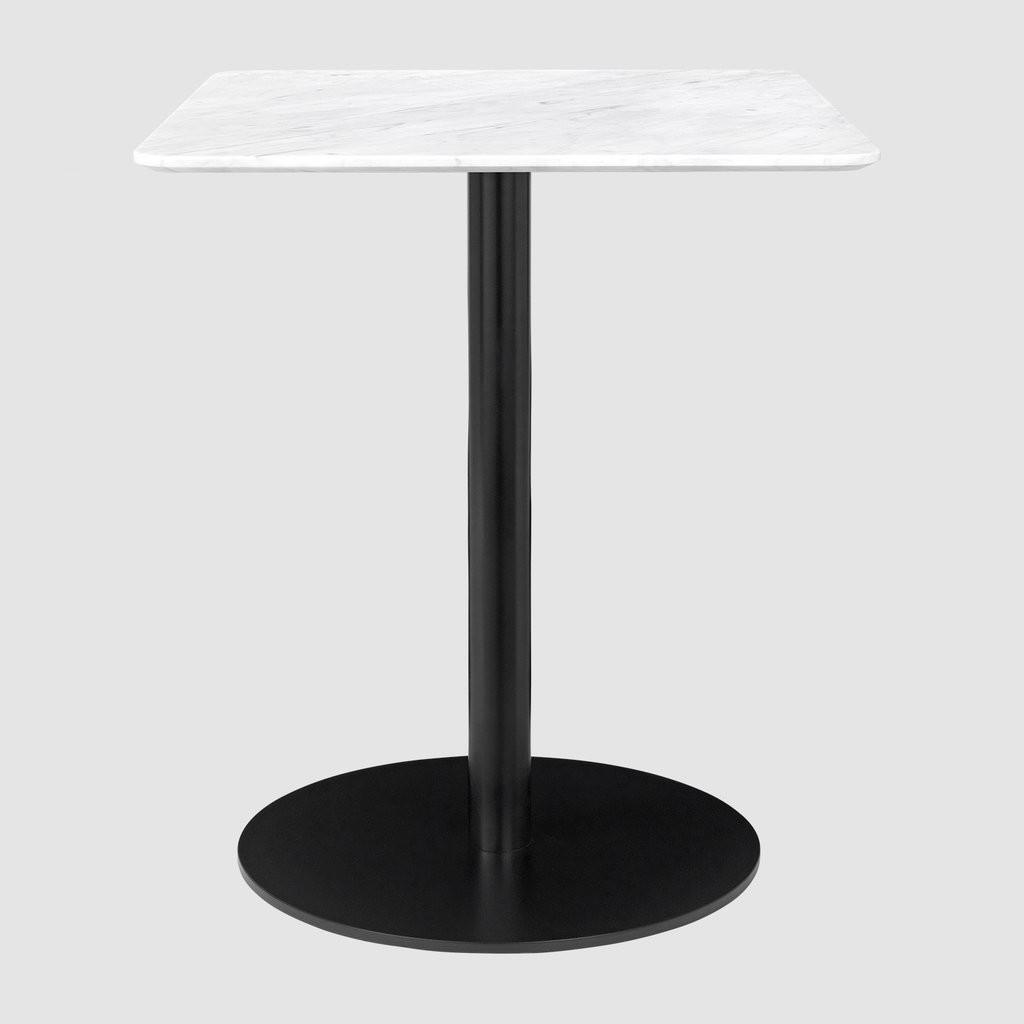 Gubi 1.0 Square Dining Table 60 x 60, Gubi Metal Black, Gubi Marble Bianco Carrara