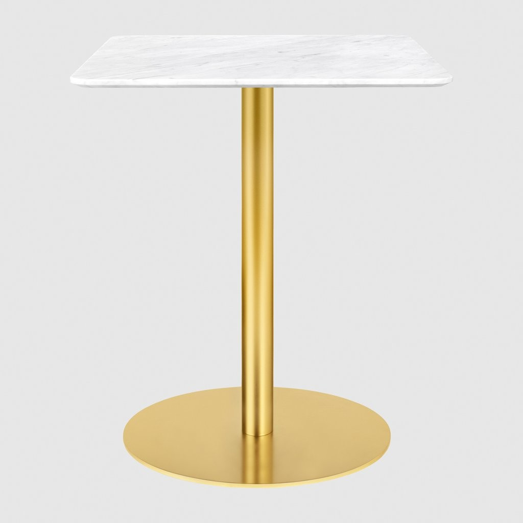 Gubi 1.0 Square Dining Table 60 x 60, Gubi Metal Brass, Gubi Marble Bianco Carrara