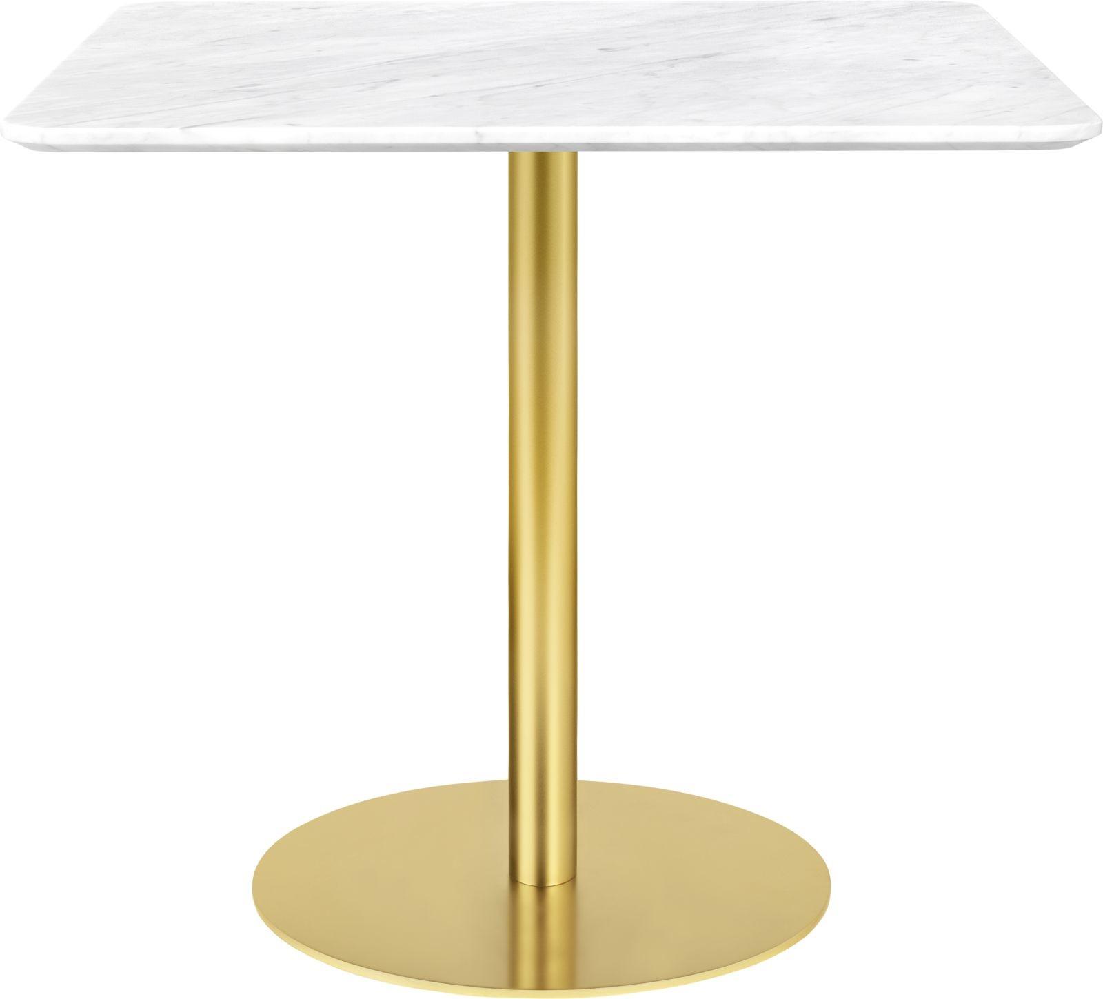 Gubi 1.0 Square Dining Table 80 x 80, Gubi Metal Brass, Gubi Marble Bianco Carrara