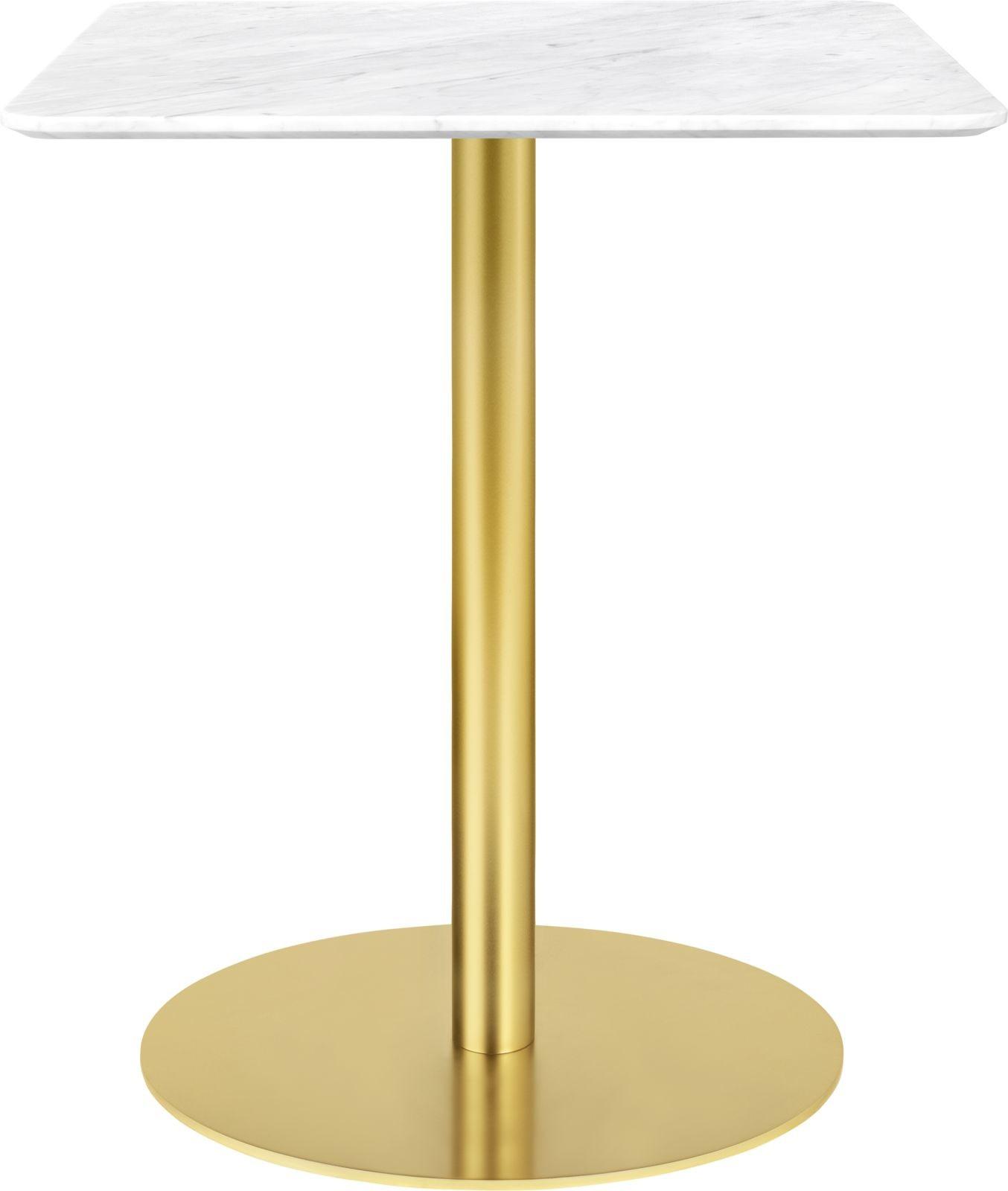 Gubi 1.0 Square Dining Table 60 x 60, Gubi Metal Brass, Gubi Marble Bianco Carrara