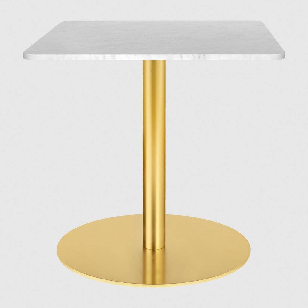 Gubi 1.0 Square Lounge Table 60 x 60, Gubi Metal Brass, Gubi Marble Bianco Carrara