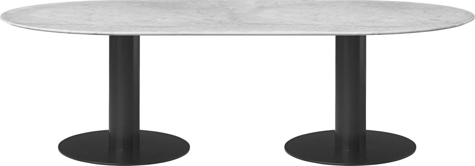 Gubi 2.0 Elliptical Dining Table - Marble 130x240, Gubi Metal Black, Gubi Marble Bianco Carrara