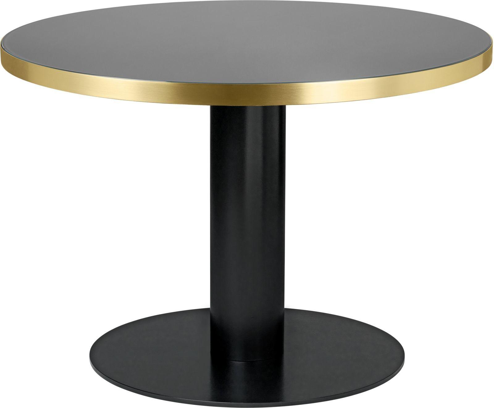 Gubi 2.0 Round Dining Table - Glass Gubi Metal Black, Gubi Glass Granite Grey, 0110
