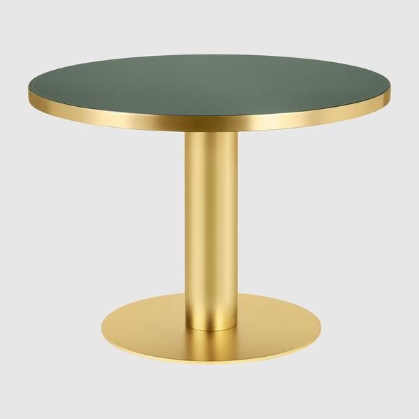 Gubi 2.0 Round Dining Table - Glass Gubi Metal Brass, Gubi Glass Bottle Green, 0110