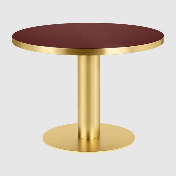Gubi 2.0 Round Dining Table - Glass Gubi Metal Brass, Gubi Glass Cherry Red, 0110