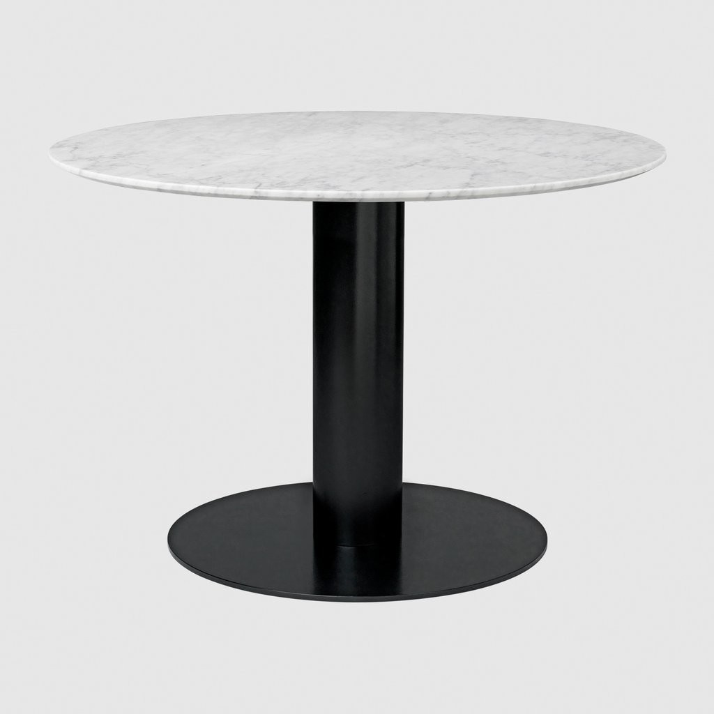 Gubi 2.0 Round Dining Table - Marble Gubi Metal Black, Gubi Marble Bianco Carrara, 0110