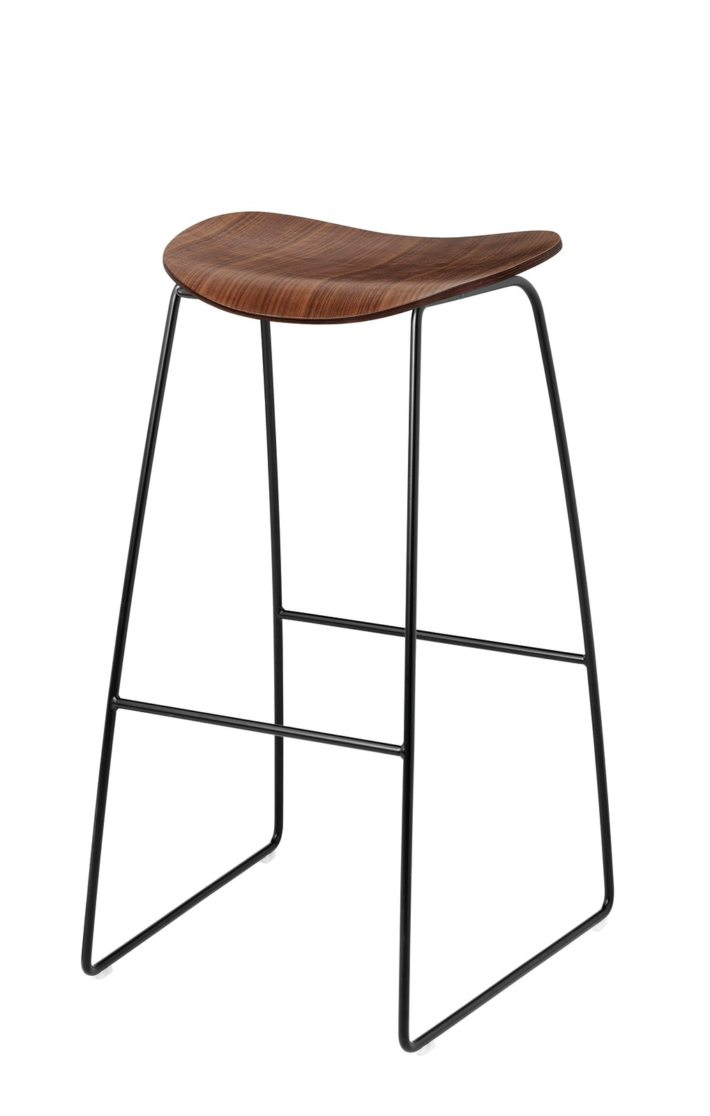 Gubi 2D Bar Stool Sledge Base - Unupholstered Gubi Wood American Walnut, Gubi Metal Black