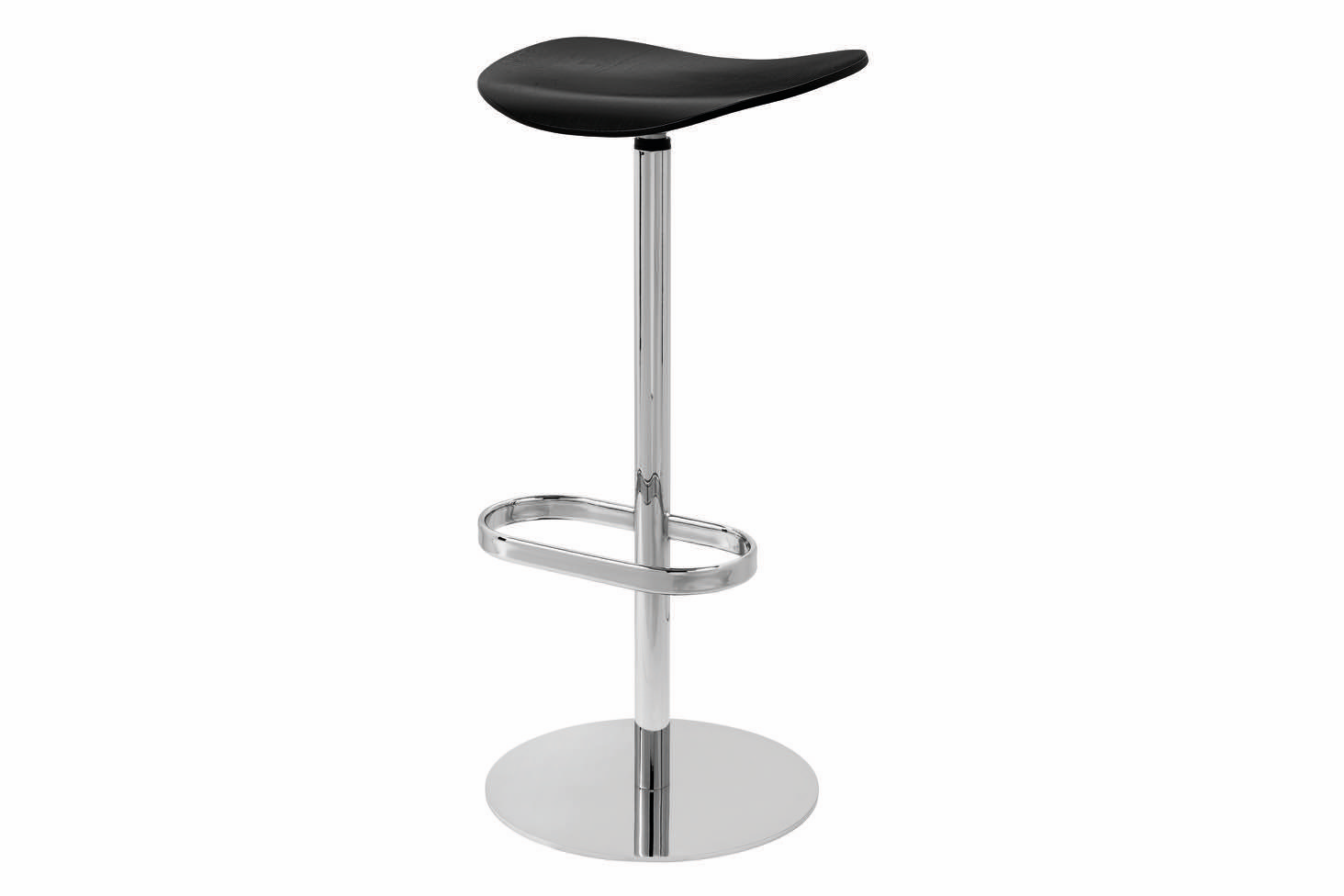 Gubi 2D Bar Stool Swivel Base- Unupholstered Gubi Wood Black Stained Birch