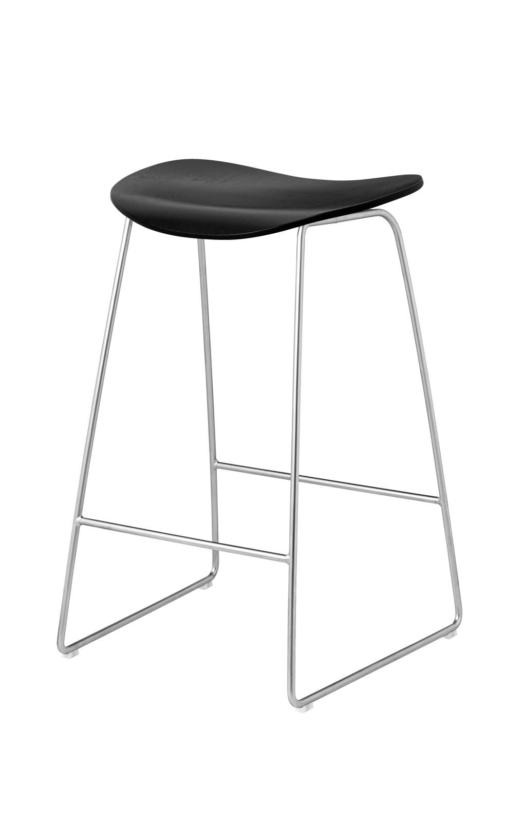 Gubi 2D Counter Stool Sledge Base - Unupholstered Gubi Wood Black Stained Birch, Gubi Metal Chrome