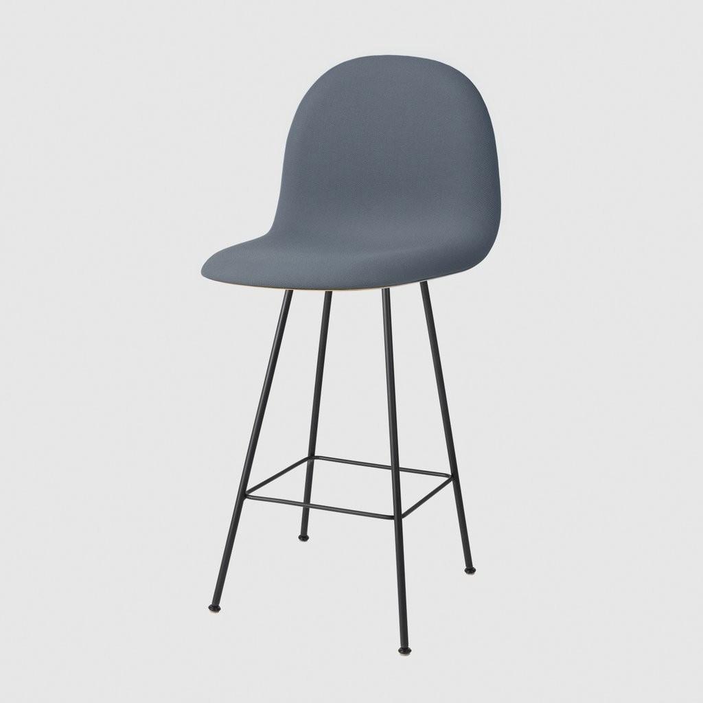 Gubi 3D Chair Center Base - Front Upholstered Tyg Eros 1 Wine 1313, Gubi HiRek Black