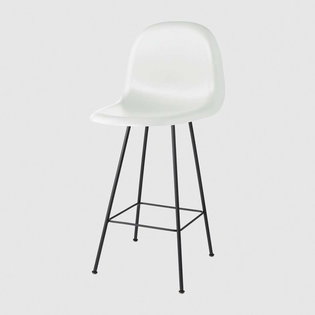 Gubi 3D Counter Chair Center Base - Unupholstered Gubi HiRek White Cloud