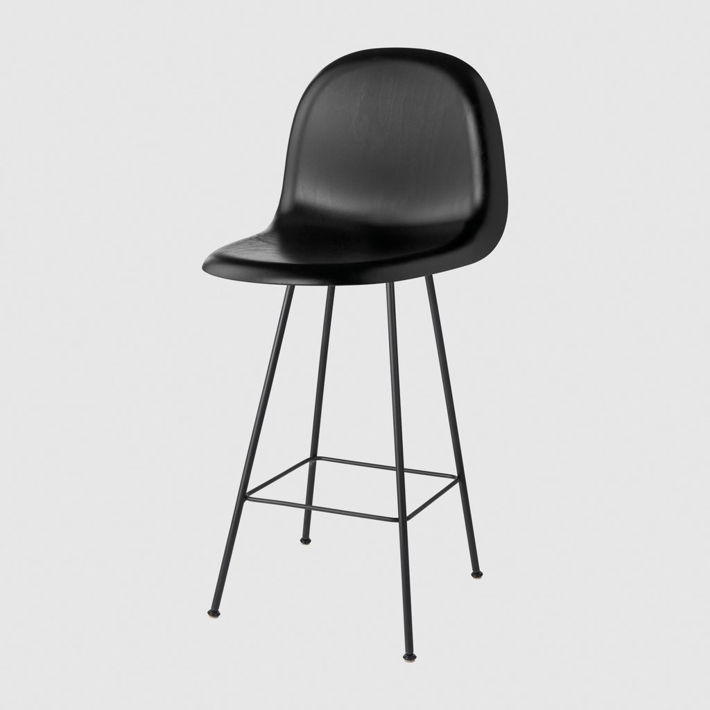 Gubi 3D Counter Chair Center Base - Unupholstered Gubi Wood Black Stained Beech