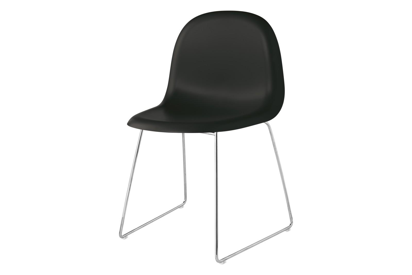 Gubi 3D Dining Chair Sledge Base - Unupholstered Gubi HiRek Black, Gubi Metal Chrome
