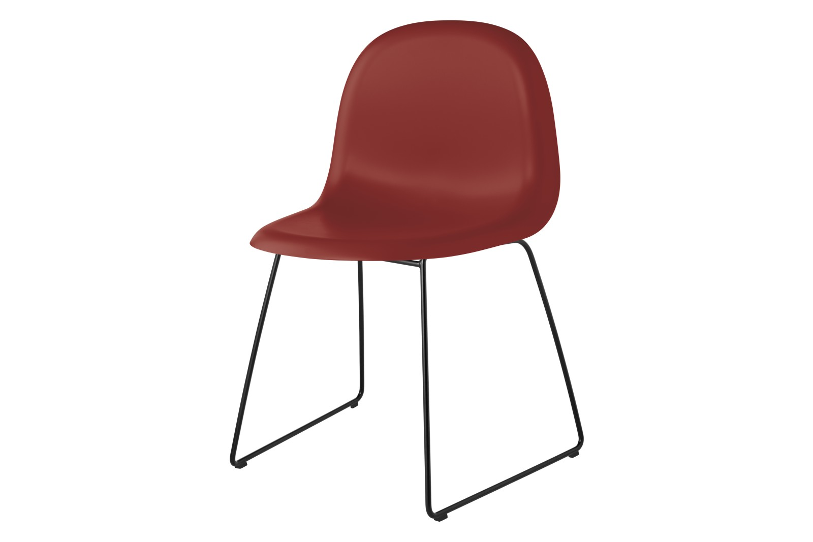 Gubi 3D Dining Chair Sledge Base - Unupholstered Gubi HiRek Shy Cherry, Gubi Metal Black