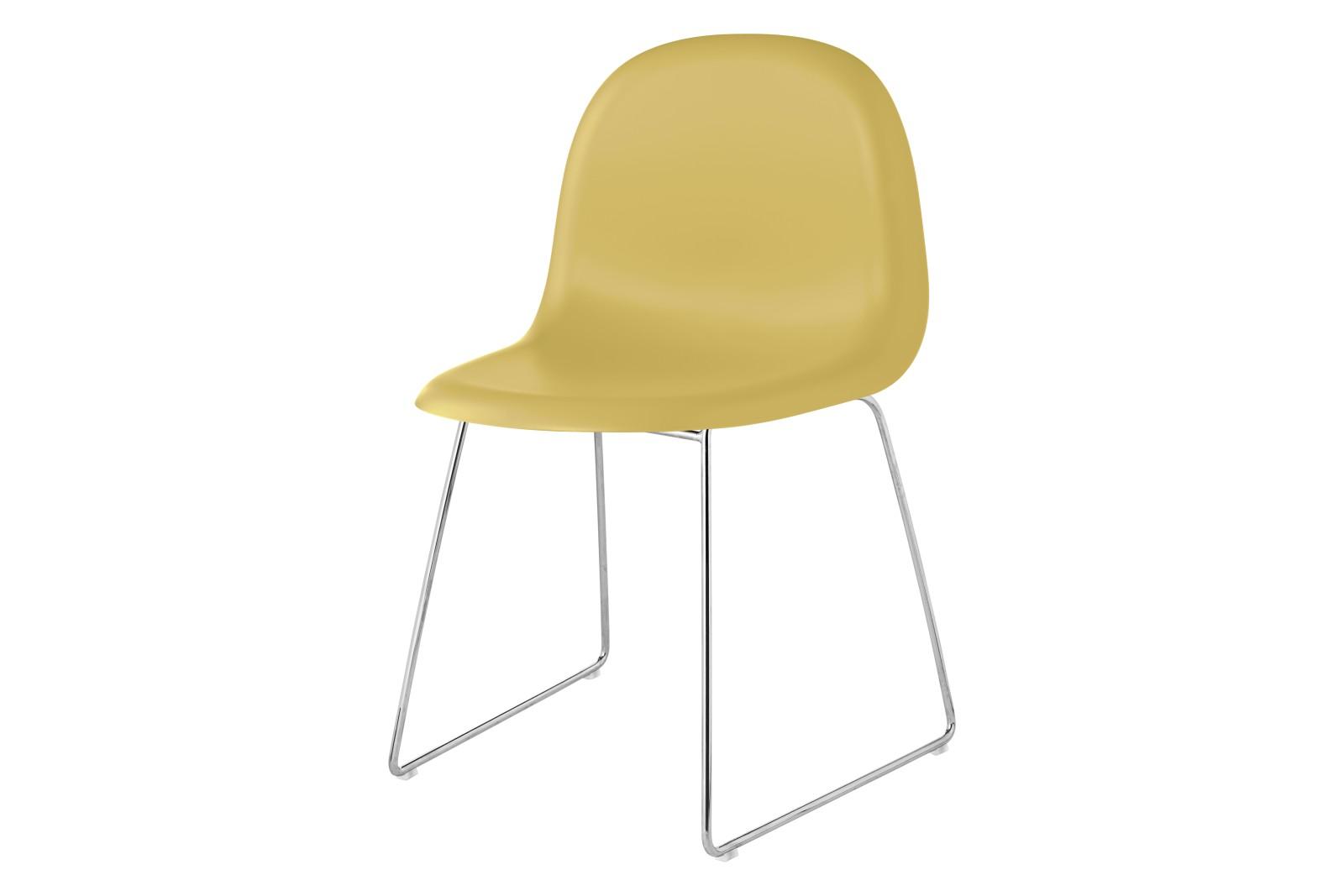 Gubi 3D Dining Chair Sledge Base - Unupholstered Gubi HiRek Venetian Gold, Gubi Metal Chrome