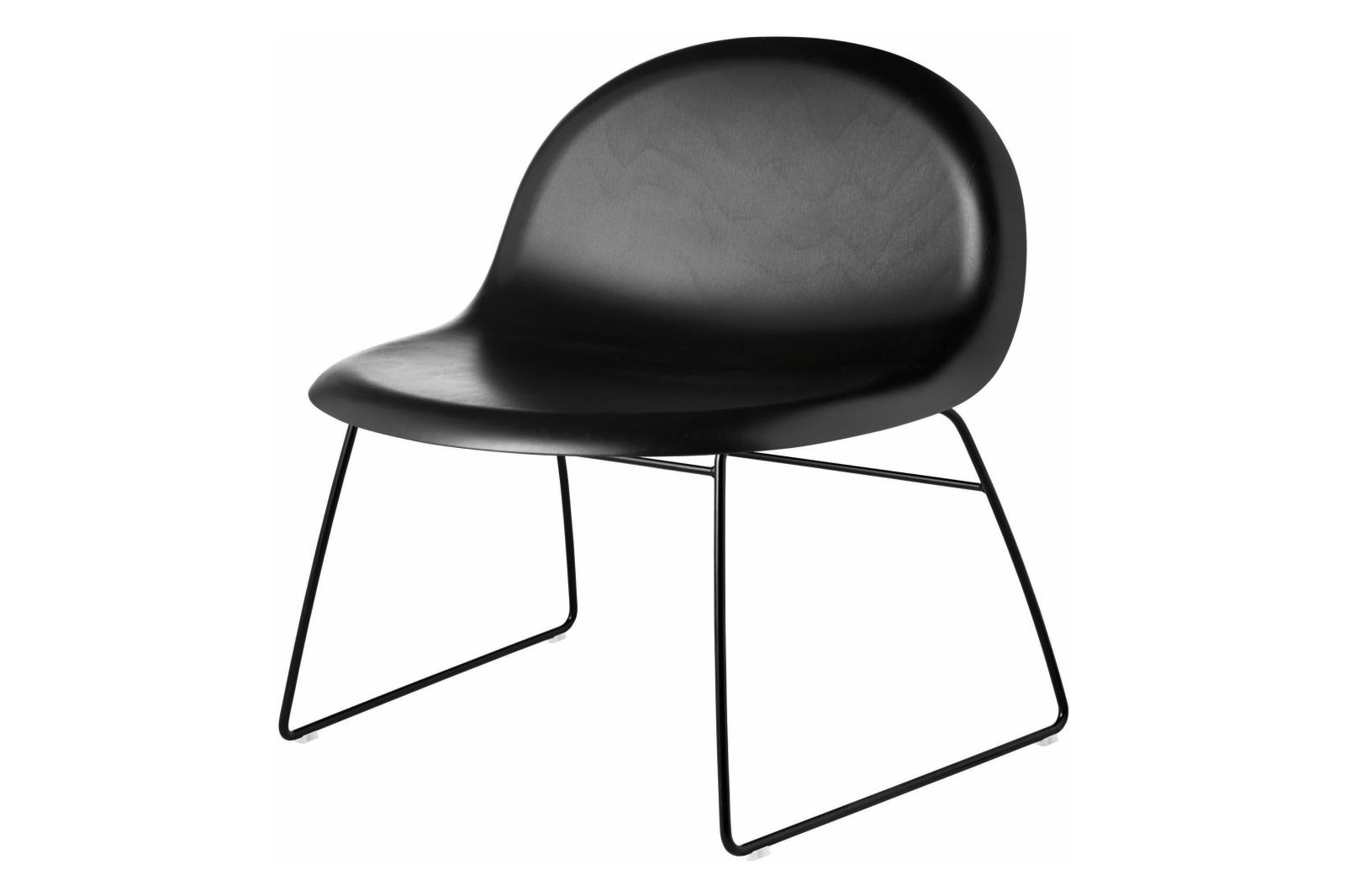 Gubi 3D Lounge Chair Sledge Base - Unupholstered Gubi Wood Black Stained Beech, Gubi Metal Black