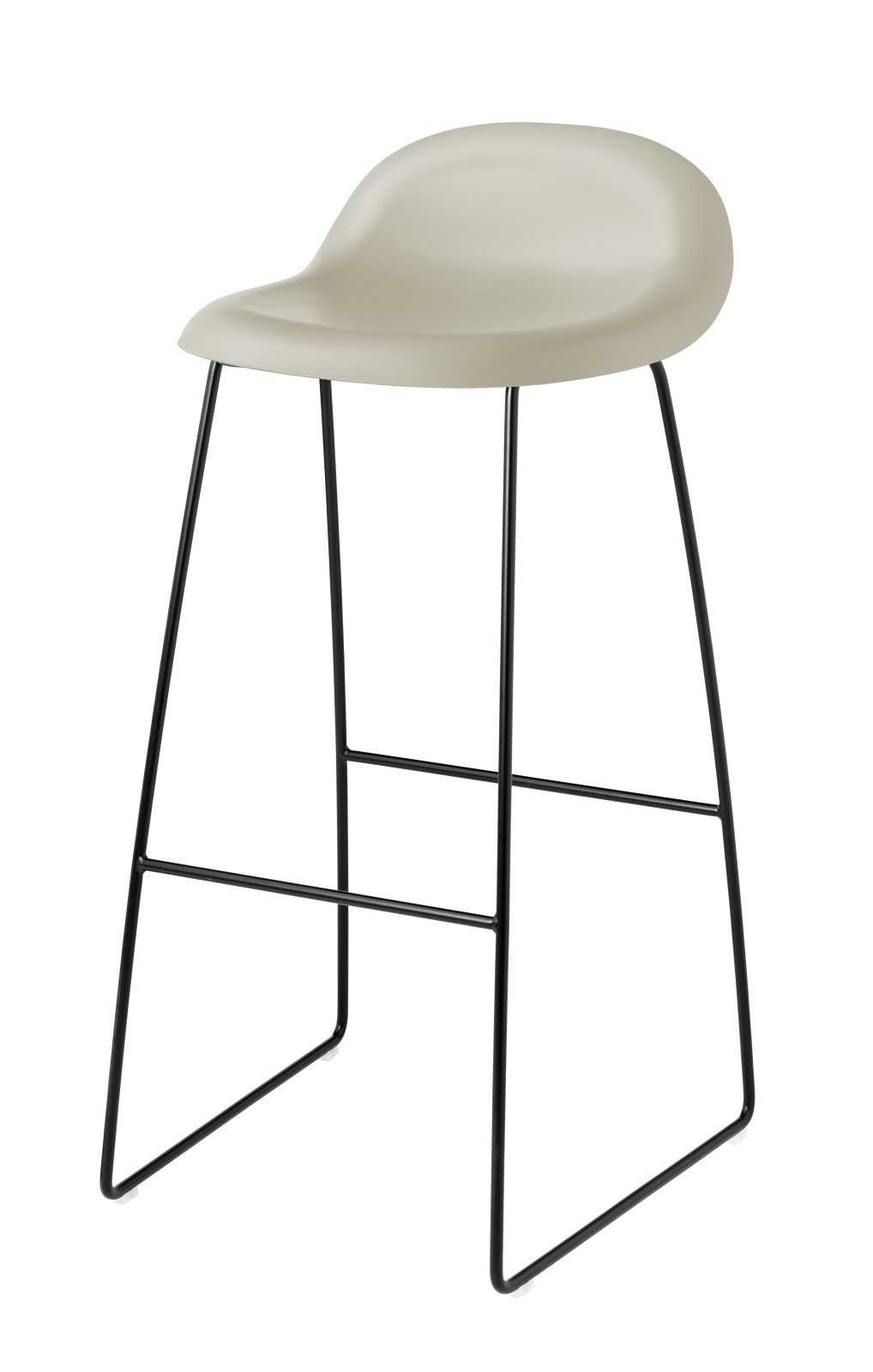 Gubi 3D Sledge Base Bar Stool - Unupholstered Gubi HiRek White Cloud, Gubi Metal Black