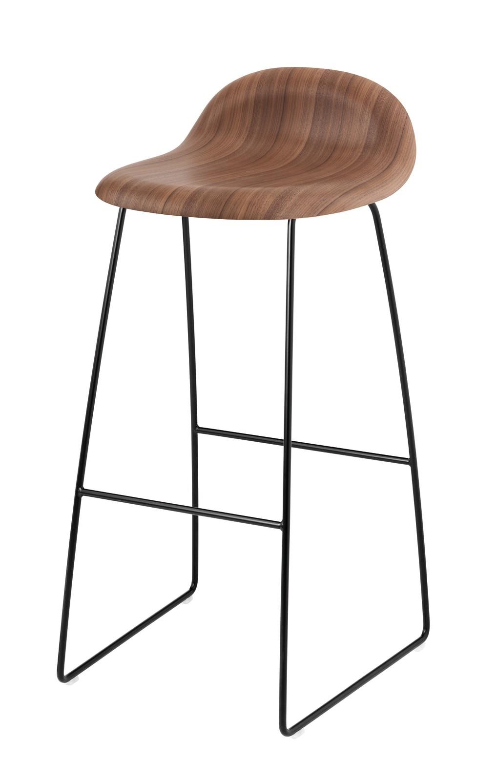 Gubi 3D Sledge Base Bar Stool - Unupholstered Gubi Wood American Walnut, Gubi Metal Black