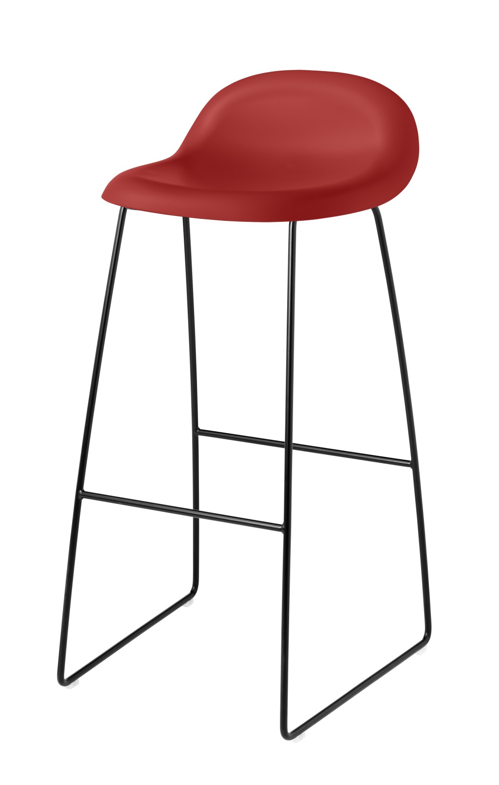 Gubi 3D Sledge Base Bar Stool - Unupholstered Gubi HiRek Shy Cherry, Gubi Metal Black