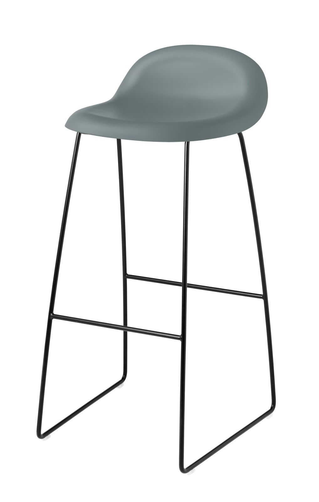 Gubi 3D Sledge Base Bar Stool - Unupholstered Gubi HiRek Rainy Grey, Gubi Metal Black