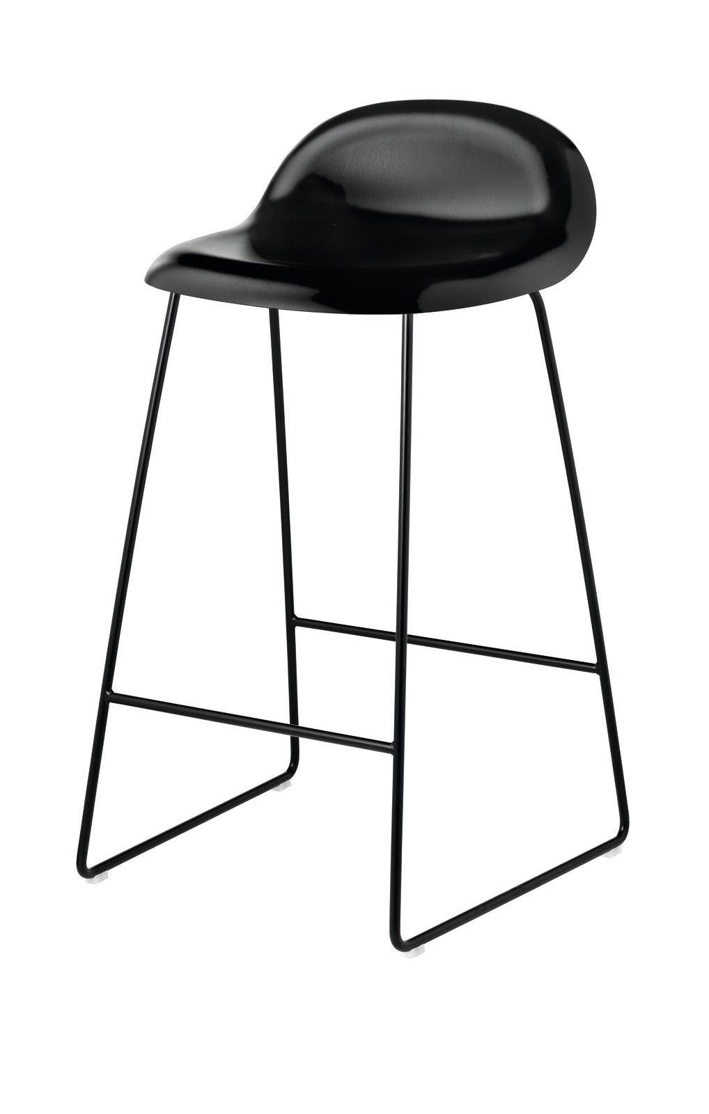 Gubi 3D Sledge Base Counter Stool - Unupholstered Gubi Wood Black Stained Birch, Gubi Metal Black