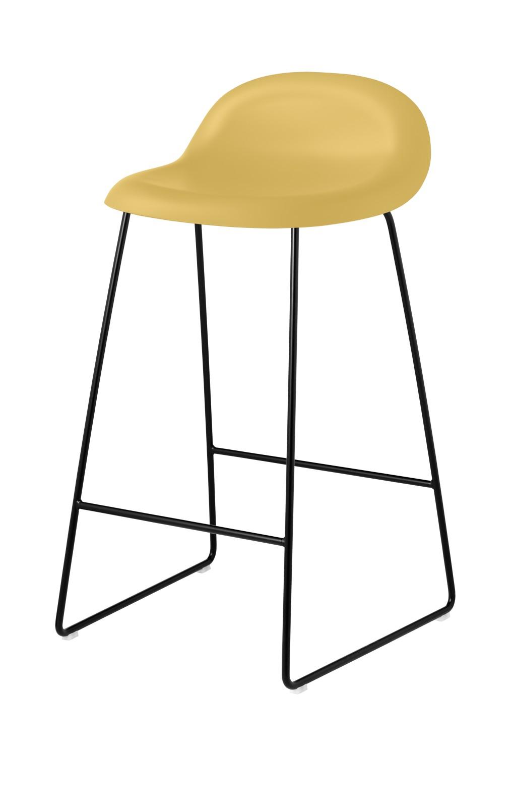 Gubi 3D Sledge Base Counter Stool - Unupholstered Gubi HiRek Venetian Gold, Gubi Metal Chrome