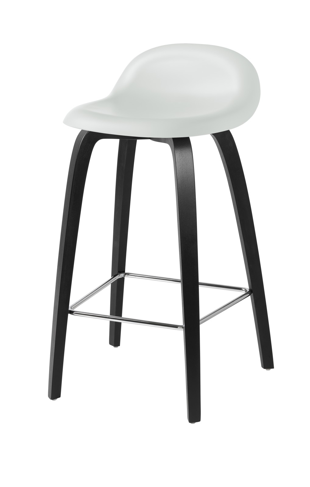 Gubi 3D Wood Base Counter Stool - Unupholstered Gubi HiRek White Cloud, Gubi Wood Black Stained Beec