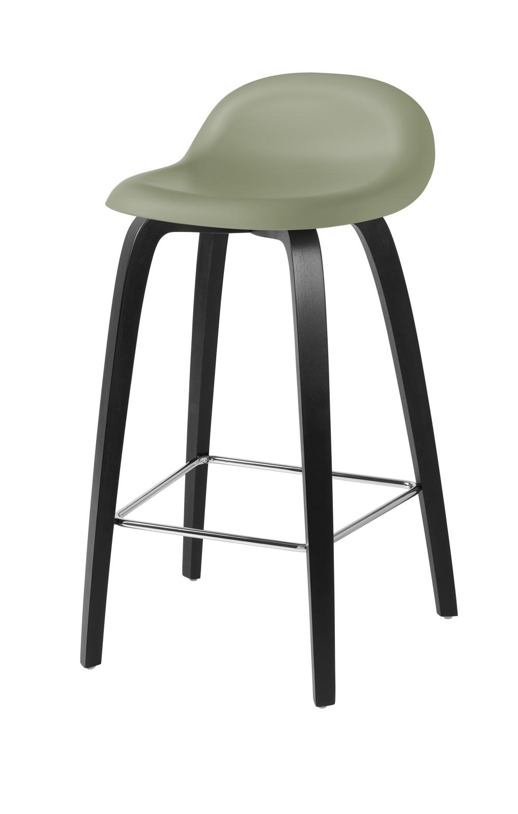Gubi 3D Wood Base Counter Stool - Unupholstered Gubi HiRek Mistletoe, Gubi Wood Black Stained Beech