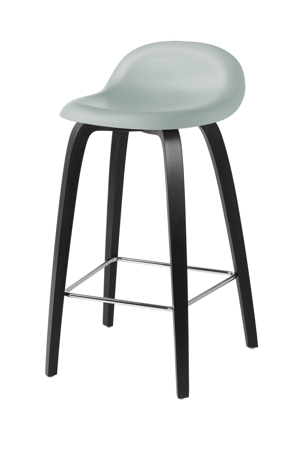 Gubi 3D Wood Base Counter Stool - Unupholstered Gubi HiRek Nightfall Blue, Gubi Wood Black Stained B