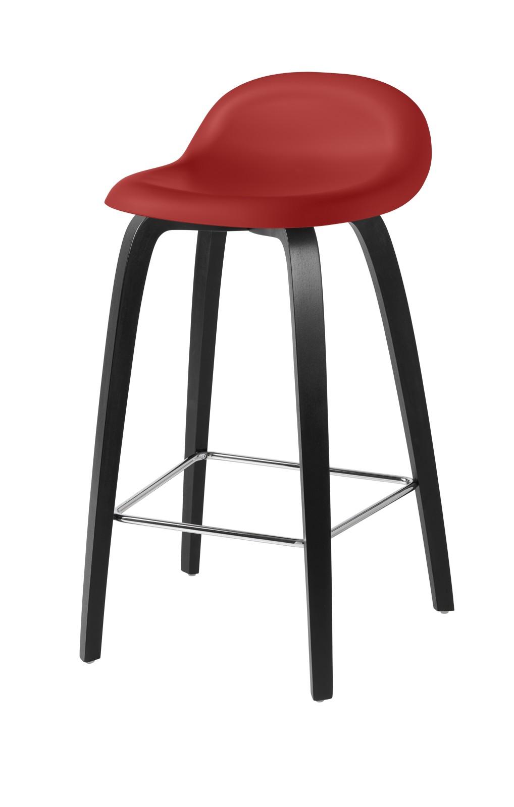 Gubi 3D Wood Base Counter Stool - Unupholstered Gubi HiRek Shy Cherry, Gubi Wood Black Stained Beech