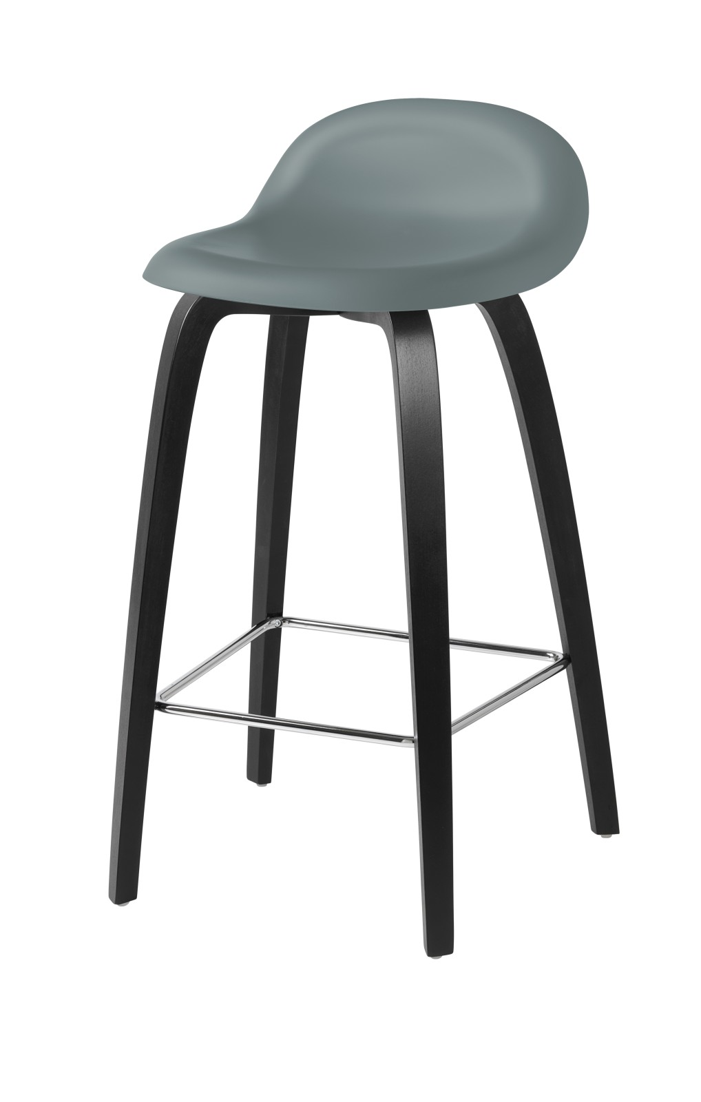Gubi 3D Wood Base Counter Stool - Unupholstered Gubi HiRek Rainy Grey, Gubi Wood Black Stained Beech
