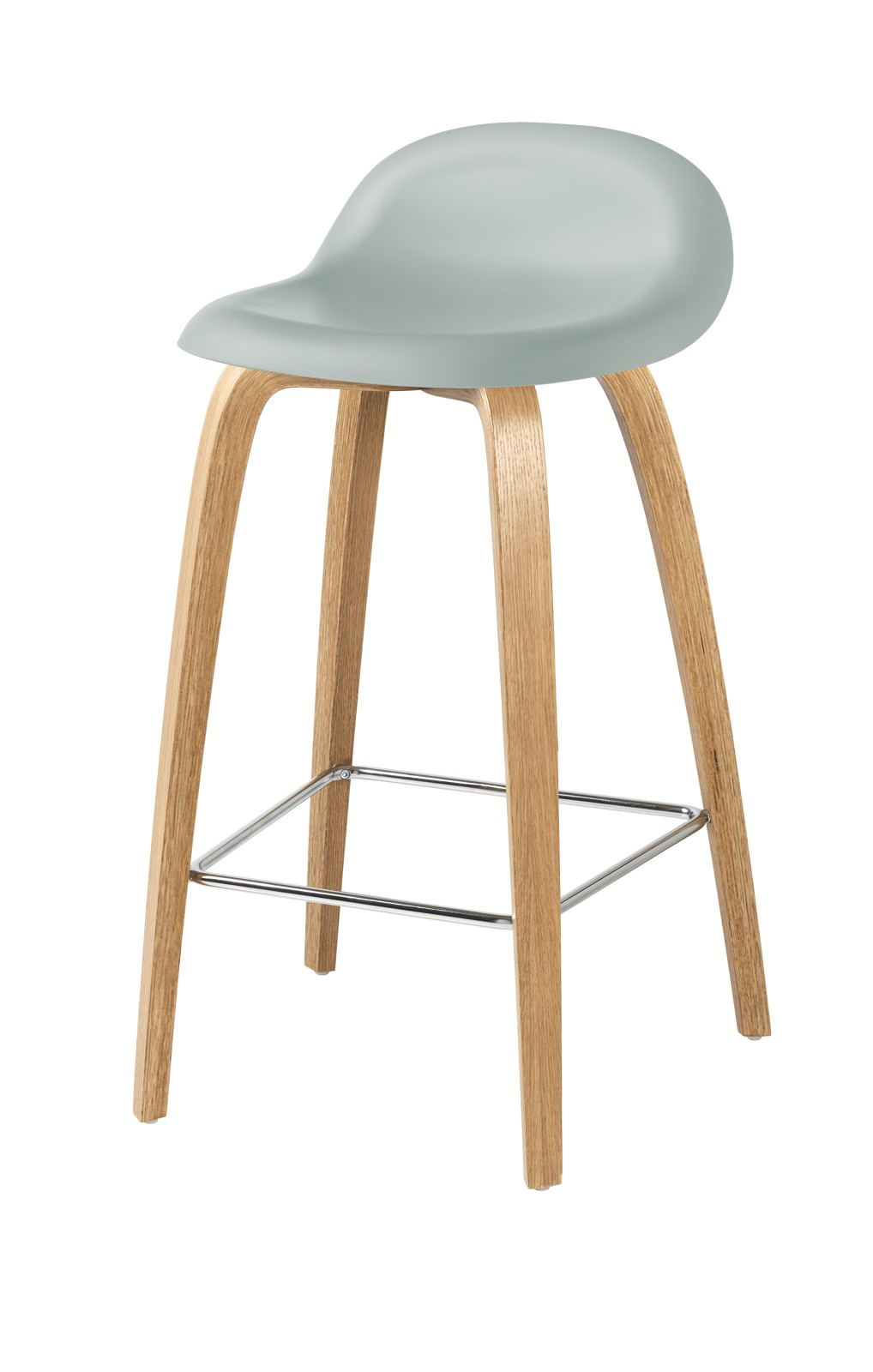 Gubi 3D Wood Base Counter Stool - Unupholstered Gubi HiRek Nightfall Blue, Gubi Wood Oak