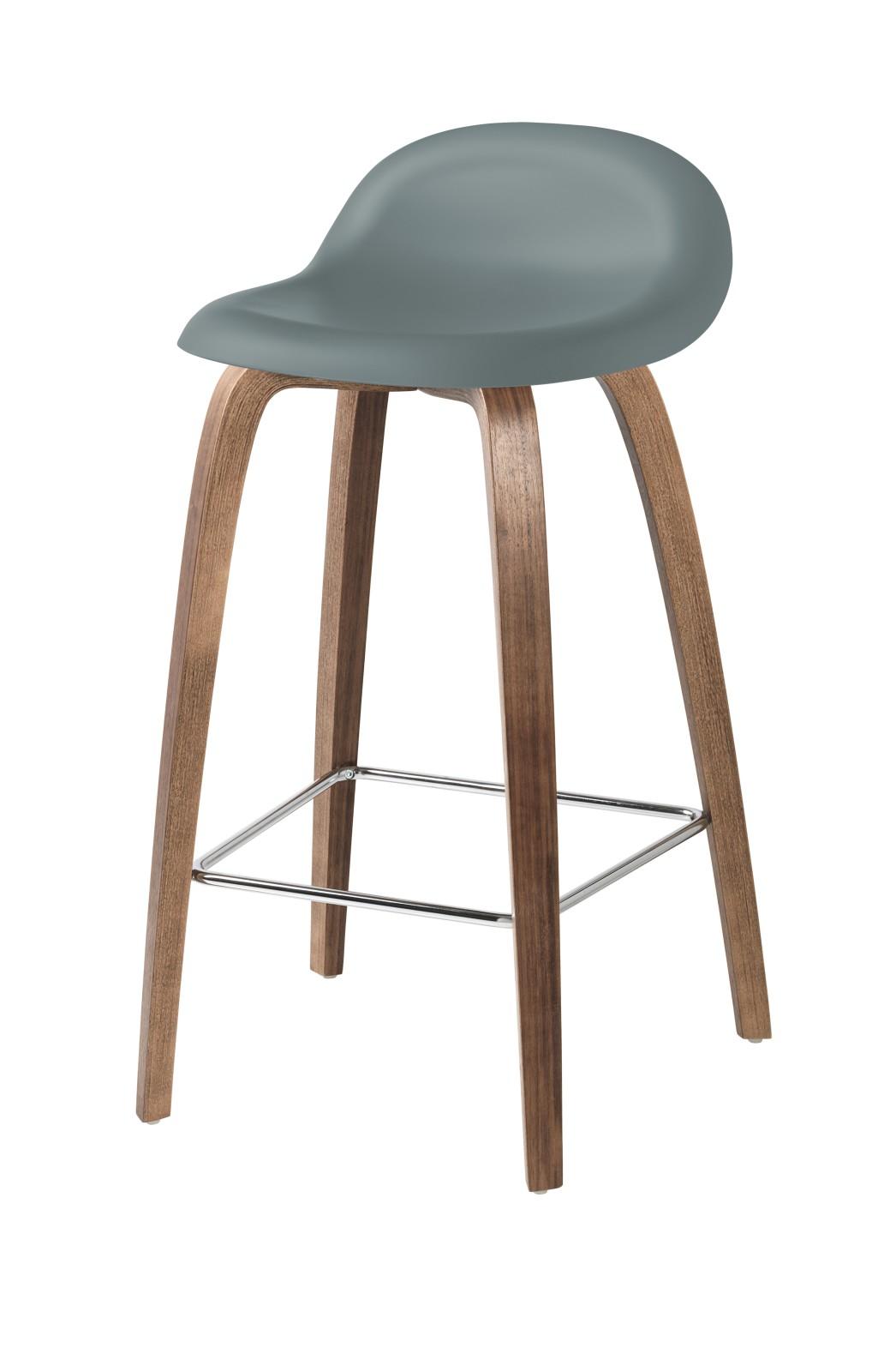 Gubi 3D Wood Base Counter Stool - Unupholstered Gubi HiRek Rainy Grey, Gubi Wood American Walnut