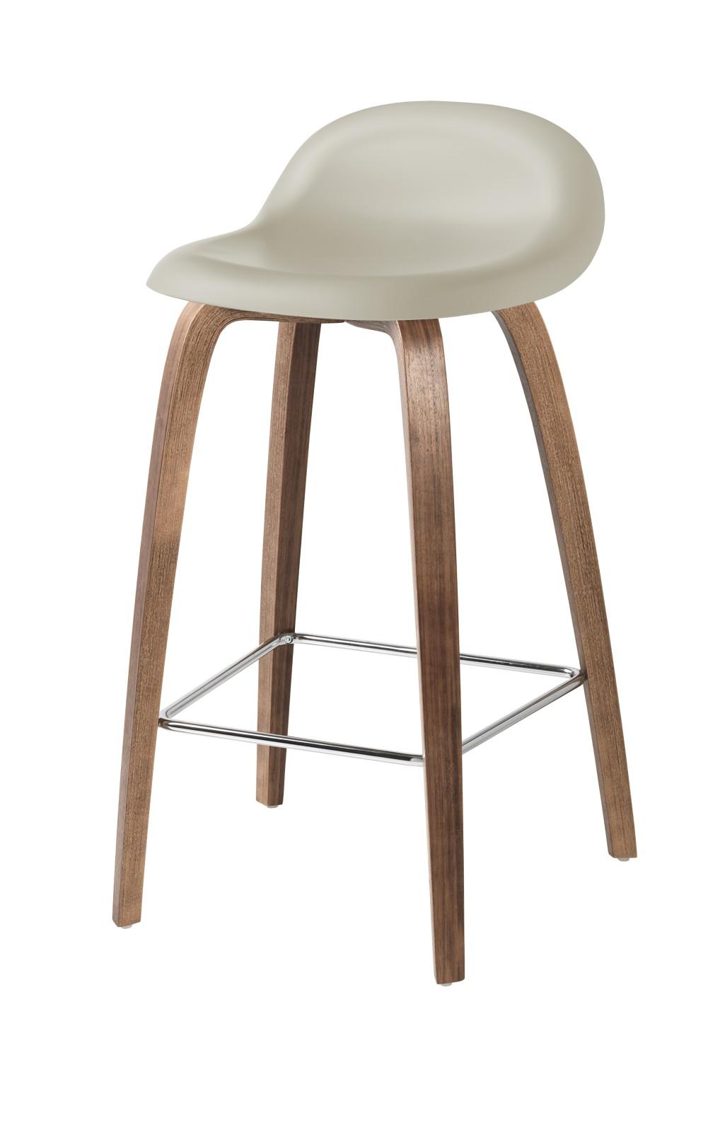 Gubi 3D Wood Base Counter Stool - Unupholstered Gubi HiRek Moon Grey, Gubi Wood American Walnut