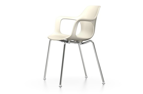 HAL Armchair Tube Stackable, Without Seat Upholstery 31 warm grey, 04 White, 04 glides for carpet