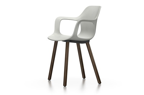 HAL Armchair Wood 04 white, 04 glides for carpet, Base walnut black pigmented