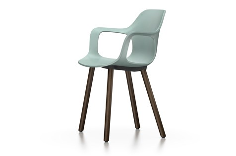 HAL Armchair Wood 23 ice grey, 04 glides for carpet, Base walnut black pigmented