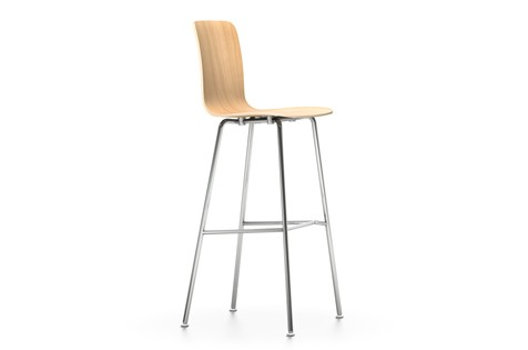 HAL Ply Stool High natural oak with protective varnish, 04 glides for carpet, 04 white