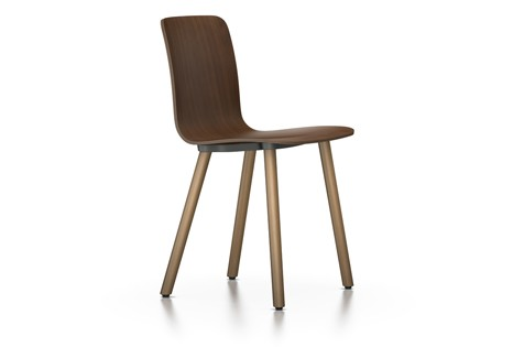 HAL Ply Wood Chair 04 glides for carpet, Walnut black pigmented, Natural oak with protective varnish