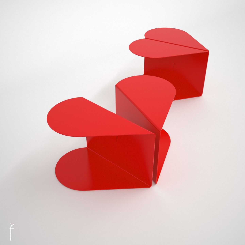 Halves Side Table Red, Large