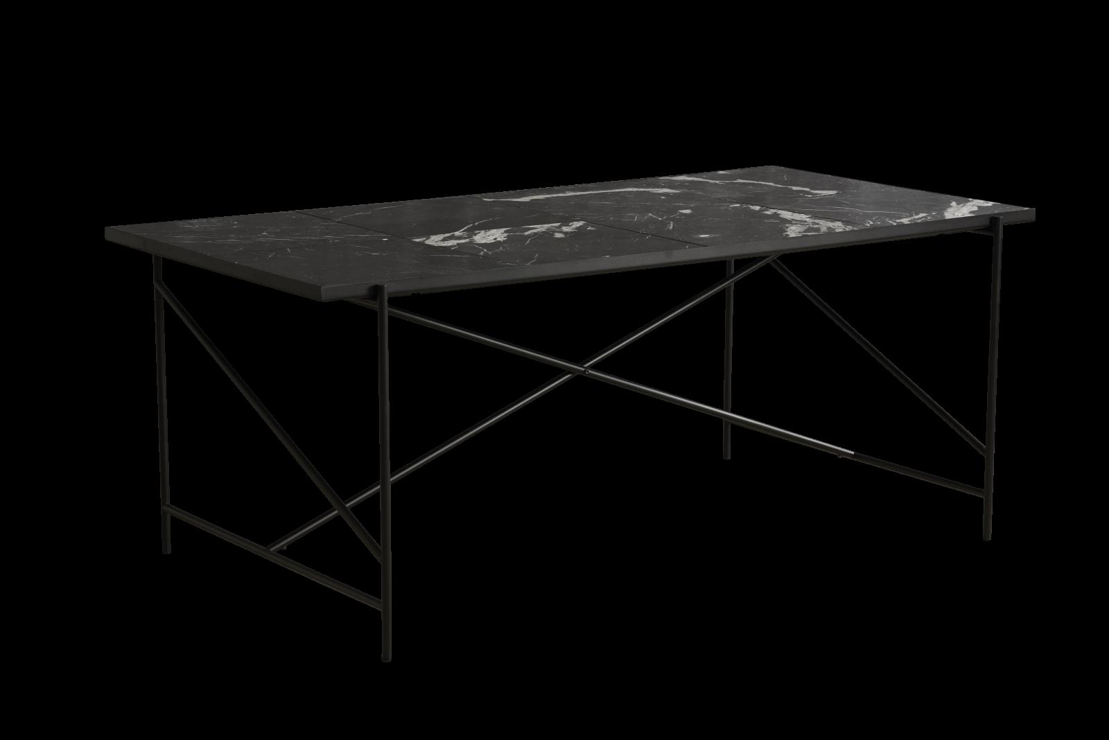Handvärk Dining Table Black Marble, Black Base, 185 cm