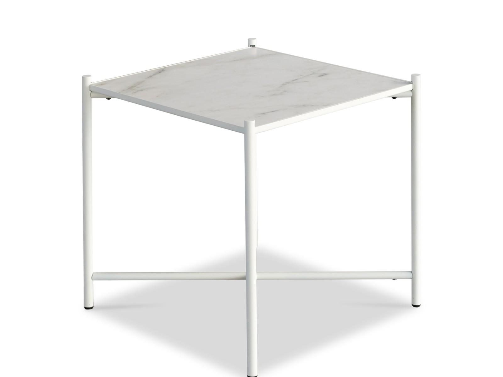Handvärk Side Table White Marble, White Base