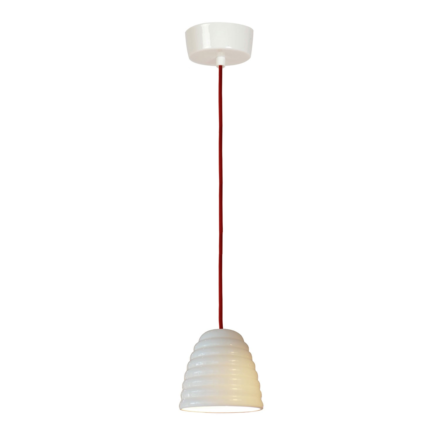 Hector Bibendum Pendant Light Natural White, Red Cable, Small
