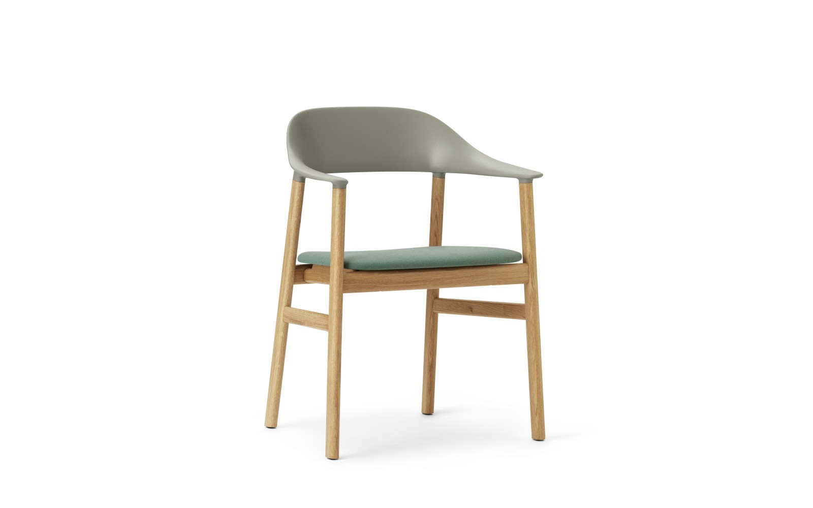 Herit Dining Chair with Armrests and Upholstered Seat Synergy Dusty Green, Oak