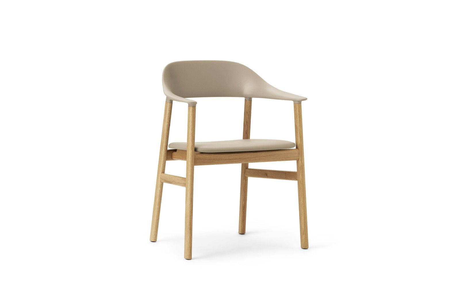 Herit Dining Chair with Armrests and Upholstered Seat Spectrum Leather Sand, Oak