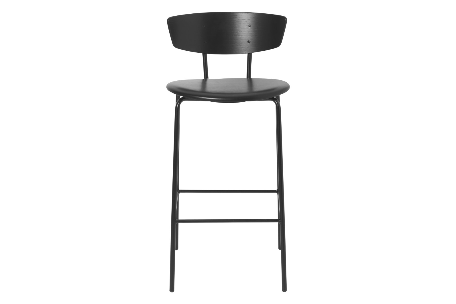 Herman Bar Chair with Upholstered Seat Black Leather, Low, Yes