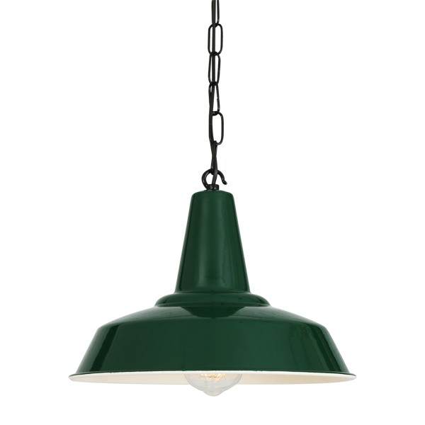 Hex Factory Pendant Light Powder Coated Racing Green
