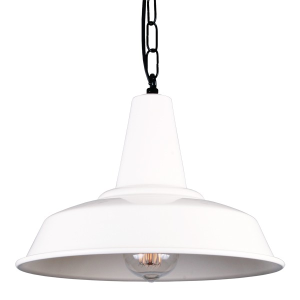 Hex Factory Pendant Light Powder Coated White
